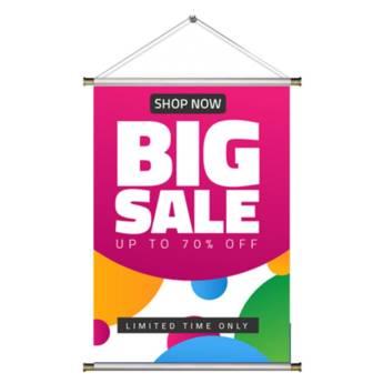 Comprar o produto de Banner - Lona 280g - Acabamento com cordão e Madeira em Perfil para Banner em Jundiaí, SP por Solutudo