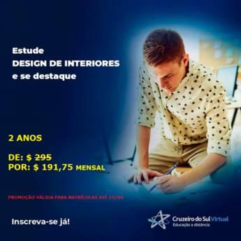 Comprar produto Curso de Design de Interiores  em Cursos pela empresa Cruzeiro do Sul Virtual - Presidente Prudente em Presidente Prudente, SP