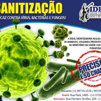 Comprar o produto de Sanitização em Outros Serviços pela empresa Ideal Dedetizadora em Botucatu, SP por Solutudo
