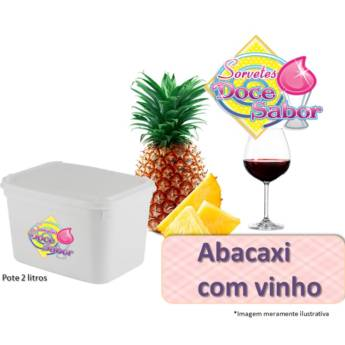 Comprar produto Sorvete de massa sabor Abacaxi com vinho | Pote de 2 litros em Sorvete de Massa pela empresa Sorveteria Doce Sabor em Bauru, SP