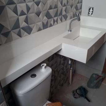 Comprar o produto de Marmoraria - Pia para banheiro em Mármore Branco em Mármore em São Pedro, SP por Solutudo