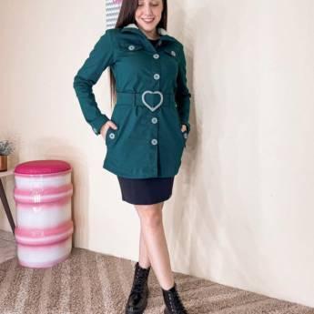 Comprar produto Parka Verde em Sarja Collor Império Z Moda Evangélica em Moda Evangélica pela empresa Lú Modas - Moda Evangélica em Jundiaí, SP