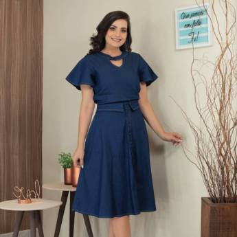 Comprar produto Blusa Jeans Laura Rosa Moda Evangélica em Moda Evangélica pela empresa Lú Modas - Moda Evangélica em Jundiaí, SP