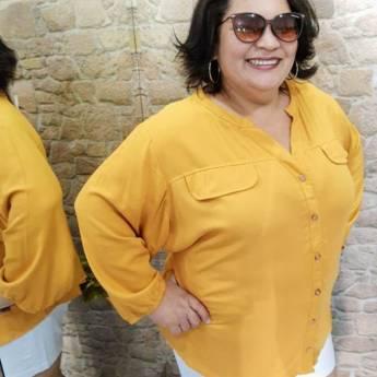 Comprar o produto de CAMISA MOSTARDA, GOLA PADRE (G3) em Moda Plus Size em Botucatu, SP por Solutudo