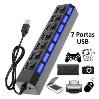 Comprar o produto de HUB USB 2.0 7 PORTAS COM LED INDICADOR E ENTRADA PARA FONTE em Novos pela empresa Multi Consertos - Celulares,  Informática e Vídeo Games em Botucatu, SP por Solutudo