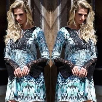 Comprar o produto de Vestido estampa animal print com detalhe em renda Pura Emoção em Roupas e Acessórios pela empresa Loja Ego - Moda Feminina Multimarcas em Botucatu, SP por Solutudo