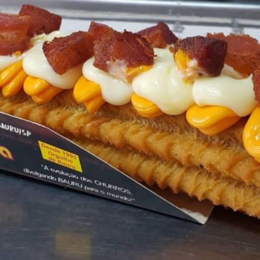 Comprar o produto de Churros de bacon, cheddar e Catupiry em Bolos e Doces pela empresa Churros Oba-Oba em Bauru, SP por Solutudo