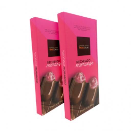 Comprar o produto de Tablete Trufado de Morango 90g em Sobremesas pela empresa Chocolates Brasil Cacau Botucatu em Botucatu, SP por Solutudo